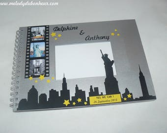 New york statue of liberty silver United States travel wedding guestbook Black Yellow