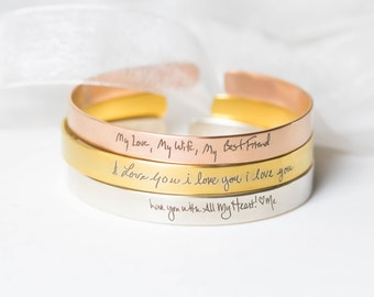 Actual Handwriting Cuff Bracelet • Personalized Signature Bangle in Sterling Silver • Meaningful Wedding Gifts • Mothers Gifts BM26