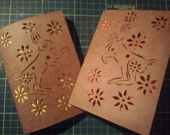 Dancing Hare papercut - hand made notebook - papercut -notebook - Hares - stationery - gift for hare lovers - notebook for hare lovers