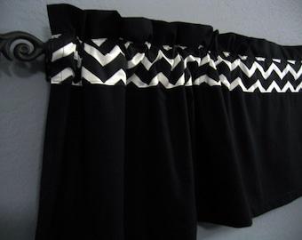 Black White Chevron Valance Curtain Kona Cotton