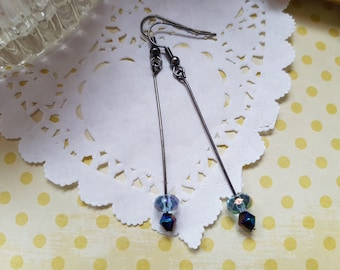 Black Wire and Crystal Earrings