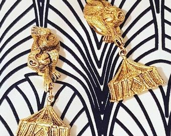 Monkey Earrings Gold Statement Vintage Clip on