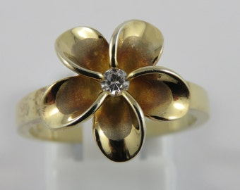 Sterling Silver Gold Wash Flower Ring With A White Stone Center -SIZE 7 1/2