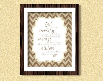 Serenity Prayer Wall Art Printable - Chevron - 8x10 - Instant Download Digital Print, Poster, Christianity, Wisdom, Bible, Motivational Gift