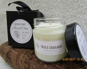 Musk & Sandalwood scented Soy Candle