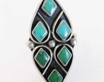 Vintage Inlaid Turquoise Sterling Ring | 1970's Large Southwest Jewelry Jewellery | 925 Sterling Ring | Gift Jewelry for Her