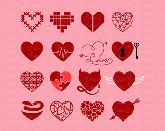 Hearts Svg Love Eps Dxf Png vector file hearts clipart Valentine's Day svg heart design print decal illustration cut file silhouette cricut