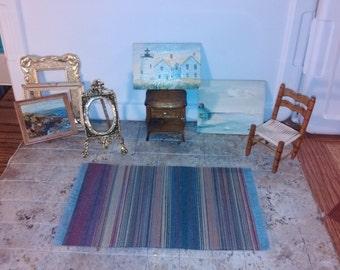 Great Quality dollhouse furniture art artist studio room set lot 3 ooak hand painted paintings lighthouse beach scene landscape chair 1/12