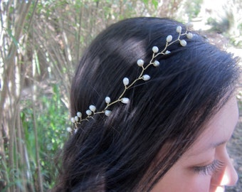 Pearl crown, bridal headpiece, pearl headband, hair vine, gold headband, wedding, jeweled headband, tiara headband, bridal crown, Bohemian