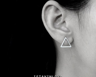 Sterling Silver Geometry Triangle Earring | Geometry Jewelry I Personalized Gift