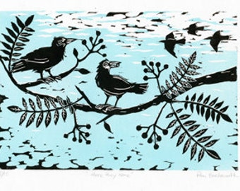 Here they come, Linocut Print