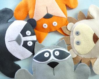 SALE - PDF ePATTERN for Woodland Animal Felt Hand Puppets - Fox, Raccoon, Badger & Hedgehog