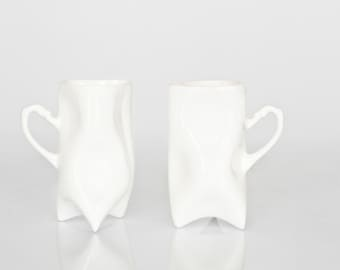 Porcelain cups set of white , ceramic cups handbuilt for coffee or tea by ENDE