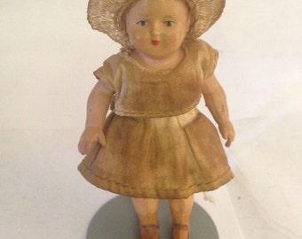 """German Bisque Doll  Antique GERMAN Solid  Bisque Doll  'Little Ragamuffin"""" 1920's 1930's era."""