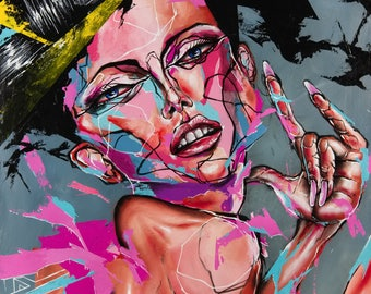 Portrait Print, Woman Print, Art Print, acrylic painting, Abstract Print - Espresso Demon