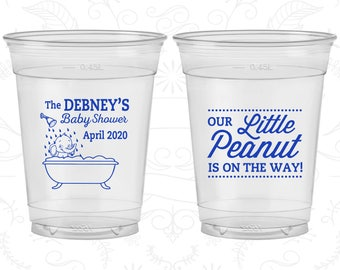 Our Little Peanut is on the way, Baby Shower Soft Sided Cups, Elephant Baby Shower, Baby Shower Disposable Cups (90180)