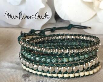 Boho Wrap Bracelet, Boho Leather Wrap Bracelet, Boho Jewelry, Boho Bracelet, Leather Wrap Bracelet, Wrap Bracelet, Bracelet