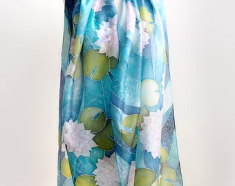 Hand painted scarf with Waterlilies oversized, done on pure silk in blue, teal and pale pink. Gift for her, ideal beach wrap called pareo