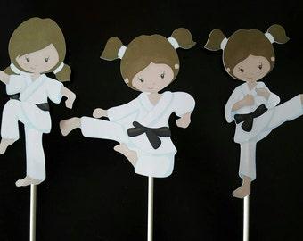 Karate girls centerpieces - set of 3, karate cake toppers, karate theme