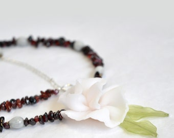 Garnet Garden JEWELRY SET Semiprecious Stones Asymmetrical Necklace with Polymer Clay Carnation and Matching Earrings January Birthstone