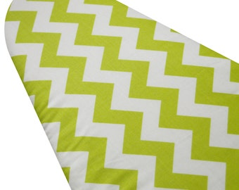 PADDED Ironing Board Cover made with Riley Blake lime green and white chevron select the size