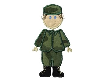 Stick Military Boy Applique Machine Embroidery Digital Design Figure Army Navy Air Force Coast Guard Marines