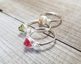 Boho ring set - boho crystal ring - stacking rings - Swarovski Crystal - boho stacking rings - boho wire ring set - silver stacking rings