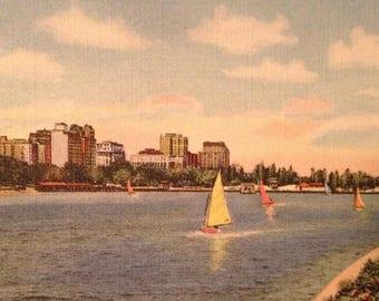 ON SALE Chicago Illinois Diversey Harbor Vintage Old 1940's Linen Postcard
