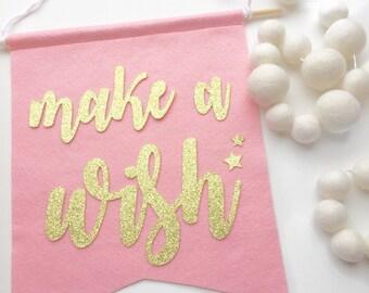 Make a Wish Felt + Glitter Banner | Room Decor | Party Decoration | Smash Cake | 1st Birthday | High Chair Banner | Office Decor | Birthday
