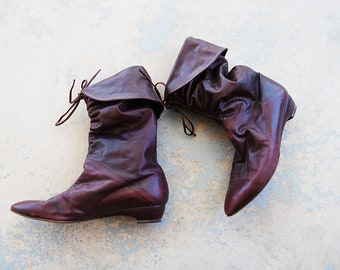 vintage 1980s Slouch Boots - 80s Oxblood Red Leather Boots - Pixie Cuff Boots Sz 8 39