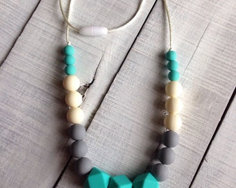Turquoise Gray Beige Geometric Silicone Teething Necklace, Silicone Beads Nursing Necklace, Hexagon Silicone Beads, Beaded Teething Necklace