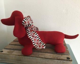 Valentine Dachshund / Doxie Puppy Dog / Ruby Red Doxie