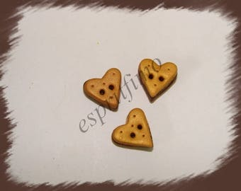 "Button ""heart cookie filled choco"" Fimo"
