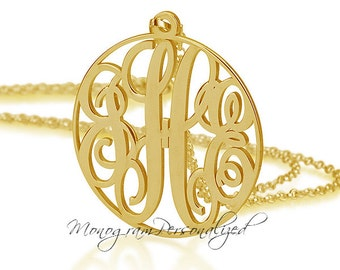 Gold Circle Monogram necklace - All sizes Personalized Monogram - 18k Gold Plated