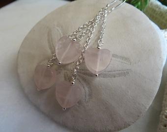 Rose Quartz Heart Earrings, Valentine Earrings, Heart Earrings, Valentine Gift, Pink Semi Precious Gemstone Earrings, Rose Quartz Earrings