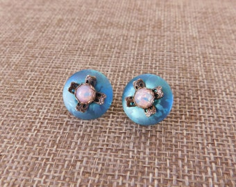 Opal and Niobium Stud Earrings, 1990's Opal earrings, Semi Precious Stone Earrings, October Birthstone Jewelry