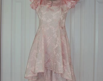 1980s-90s Womens Notorious Pink Cotton Brocade And Satin Off Shoulder High Low Prom/Party/Bridesmaid/Summer Dress Size XS/ Pink Party Dress