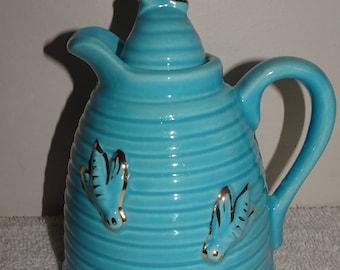 Vintage Made In U.S.A. Blue Beehive Swirl Painted Bees Honey Syrup Jar
