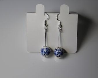 Porcelain earring / blue flower