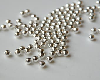 100 Round smooth ball beads silver plated brass beads 3mm 1476MB