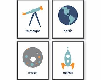 Science Art, Rocket Ship, Science Nursery, Outer space Decor, Toddler Room decor, Playroom Wall Art, Baby Boy Nursery, Kids Wall Art