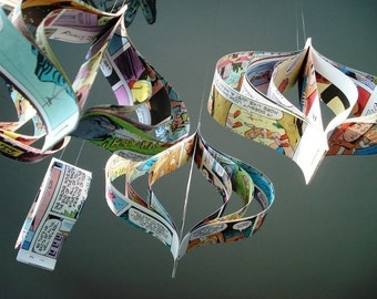 Handmade Comic Book Upcycled Paper Decorations, Christmas Ornaments, Geek, Eco