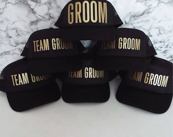 Set of 10 Bachelor Party Hats. 9 x Team Groom. 1 x Groom. Stag Party Hats.