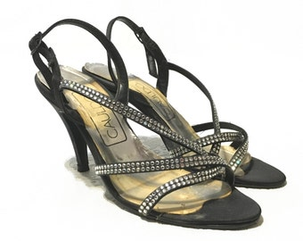 Italian Size 7 Strappy Rhinestone Pumps High Heel Shoes Black 1970's  Made in Italy Vintage sling back Sandals