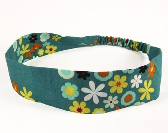 """Fabric Headband - Wildflower Lagoon - Pick your size - fit toddlers to adults - 1-1/2"""" wide"""