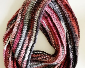 Multi-Coloured Red Wool Infinity Scarf