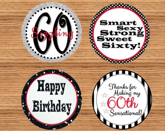 Printable 60th Birthday Favor Tags//60th Birthday Cupcake Toppers// Instant Download//Do It Yourself