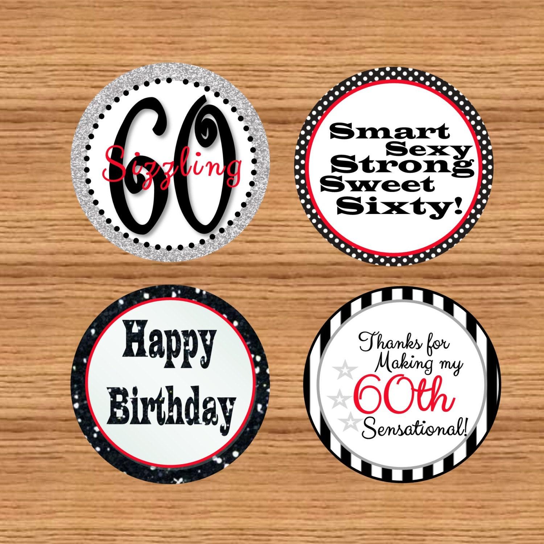 Printable 60th Birthday Favor Tags 60th Birthday Cupcake
