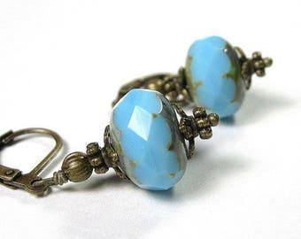 Vintage Style Azure Blue Czech Glass Earrings, Sky Blue Earrings, Rondelles, Cerulean Beaded Antique Brass Earrings, Affordable Gift Ideas