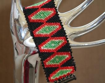 Aztec Cuff 2 Drop Odd Peyote Bracelet